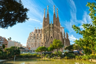 BARCELONA, SPAIN - DECEMBER 14: La Sagrada Familia - the impress