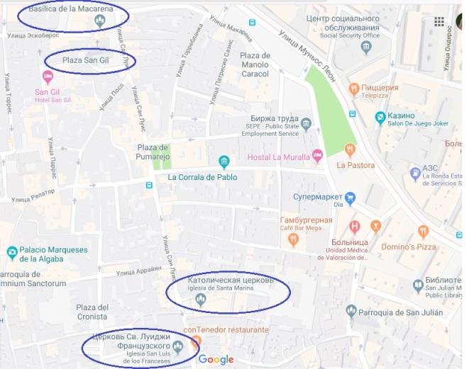 Map Iglesia Macarena Sevilla